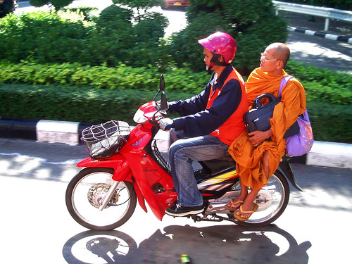 Monk on bike