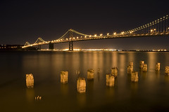 The Bay Bridge 01 (TravelnFotog) Tags: sf sanfrancisco california ca longexposure bridge nikon nightshot tripod d70s baybridge bayarea travelnfotog