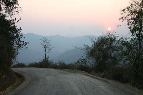 Setting sun near Nam Noen...