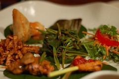 tapas indo-style (so flicked up) Tags: travel bali food mountains colors d50 indonesia asian 50mm restaurant nikon asia colours quality tapas drinks nomad f18 indonesian ubud balinese bananaleaf centralbali