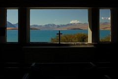 View from the altar of the 'Church of the good shepherd', Lake Tekapo (Jake&Sam) Tags: new church island view cross good south altar zealand shephard challengeyouwinner lpwindows