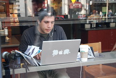 camcorder and powerbook (Steve Rhodes) Tags: sanfrancisco apple computer powerbook cafe mac laptop sony working starbucks camcorder applelogo marketst
