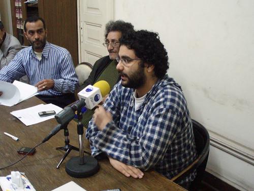 Leftist blogger Alaa Seif (Photo by Hossam el-Hamalawy)