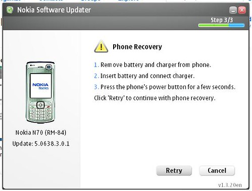 nokia updating crash