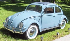 Our 57 bug (Howard33) Tags: blue car vw bug volkswagen antique beetle coker restored sunroof whitewall
