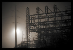 industrial strength fog (slight clutter) Tags: mist fog night texas power houston powerlines iloveflickr powerstation densefog slightclutter katyahorner slightclutterphotography
