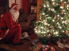 Santa sets out the presents