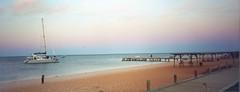 Western Australia dusk (Jacqi B) Tags: pink blue sunset sky holiday beach pier boat 2000 dusk australia westernaustralia monkeymia australia2000 sharkbay thecloudappreciationsociety jacqistravels flickrgiantsskies