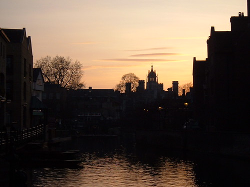 St Johns Silhouetted over the Cam