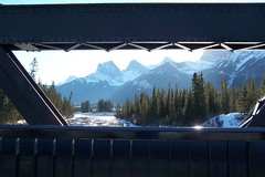 Three Sisters from Engine Bridge - Canmore (altamons) Tags: bridge blue winter white mountain snow canada mountains ice landscape kananaskis rockies cool rocky canadian alberta threesisters rockymountains mountainview canmore winterland bowriver kananaskiscountry canadianrockies bowvalley kcountry abigfave altamons travelerphotos