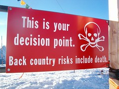 Decision Point (RyanHC) Tags: signs ski west sign danger death skull interestingness interesting colorado skiing ryan backcountry aspen crossbones decision skimountaineering aspenhighlands westernus ryanhc