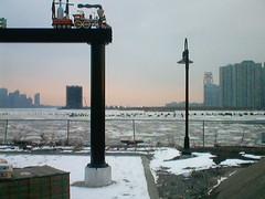 Ice on the Hudson 2003 (pmarella) Tags: 2003 ice nj hoboken cityskyline darksky