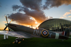 Imperial War Museum Duxford (. Andrew Dunn .) Tags: uk longexposure sunset england sun museum plane fighter britain normanfoster duxford spitfire cambridgeshire hanger eastanglia airfield americanairmuseum imperialwarmuseum stirlingprize interestingness24 i500 challengeyouwinner specobject aplusphoto