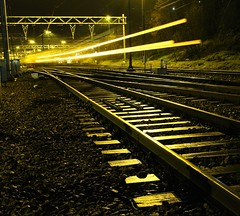 (josef.stuefer) Tags: travel light netherlands station night train movement track glow ns arnhem fast railway move explore josefstuefer