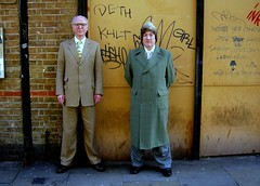 Gilbert and George, Deth Kult (Herschell Hershey) Tags: london art hat fur graffiti suits east artists end bricklane spitalfields gilbertandgeorge livingsculpture dethkult towerhamlets