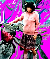 Hirosaki Girl With Bike (Bill(iudshi8uf)) Tags: pink bicycle hirosaki