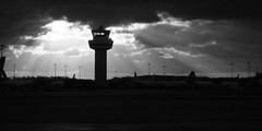 Gatwick Airport - Sunset (B&W)