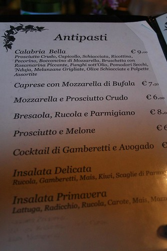 Antipasti menu at Calabria Bella - with two salads with corn in them.  You're welcome, Auntie