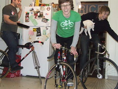 Casa de assholes (too many bicycles) Tags: chris me isaac dorks dottie trackstand indoorsports bikedorks