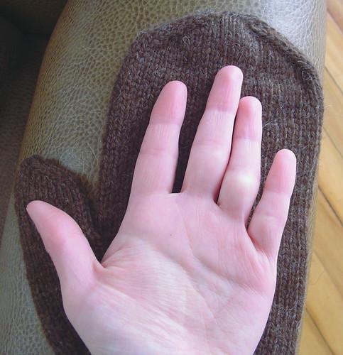 Alex's mitten, my hand