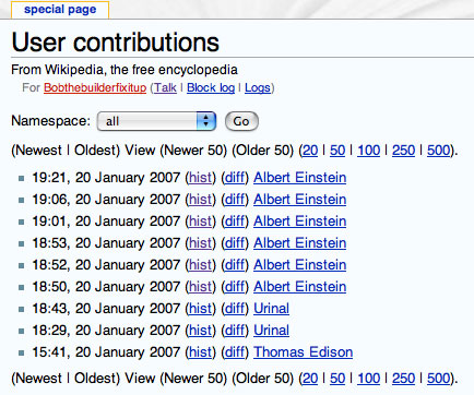 Contributions of a banned WikiPedia user