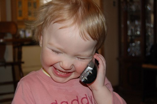 Talking to Daddy on the phone