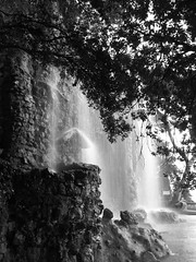 On the hill are fortress ruins which make a romantic waterfall (Shamus O'Reilly) Tags: blackandwhite bw france waterfall nice ruins riviera cte ctedazur fortress castlehill dazur frenchriviera collineduchateau