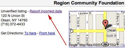 Error de informe local de Google