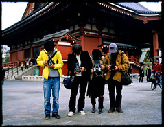 the Four Musketeers (TommyOshima) Tags: temple tokyo 4x5 asakusa puu veliva clarice papaiya jtwo fourmusketeers polaroidpathfinder110b