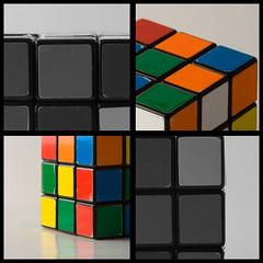 Cube (KarenPierson) Tags: game color collage canon square four rebel blackwhite interesting puzzle squareformat frame cube blocks eighties canonrebelxt tabletop rubiks bold whiteground selectivecolor kindadumb jeremysstuff