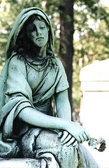 Bronze Memorial: Woodlawn Cemetery--Detroit MI (pinehurst19475) Tags: city urban sculpture cemeteries beautiful cemetery statue bronze memorial mourning michigan detroit woodward melancholy statuary patina woodlawn woodwardavenue cementerios femalefigure flickrexplore cimiteri woodlawncemetery friedhoefe michigancemetery bronzememorial woodlawnbronzememorial bronzememorialwoodlawn harrisonmemorial