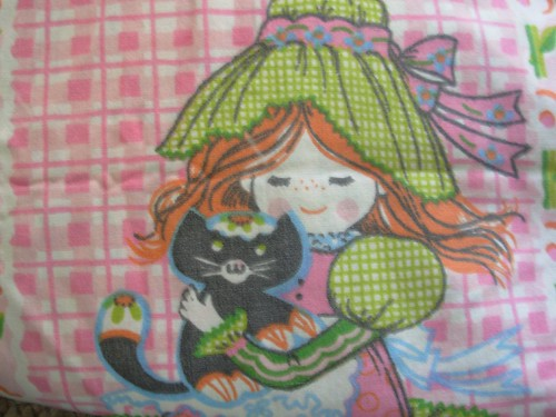 vintage cat and girl sheeting