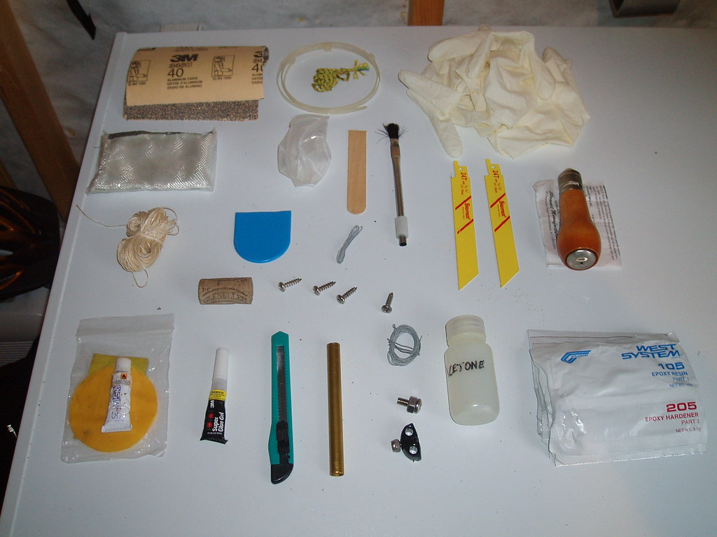 Contents of my expedition sea kayak repair kit