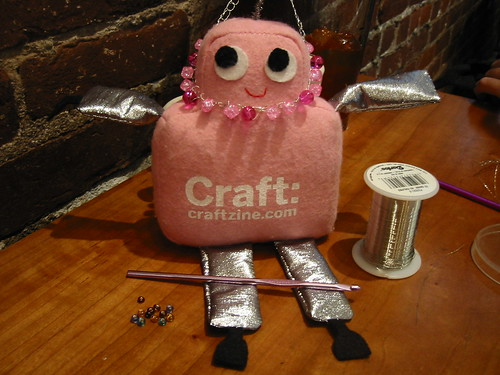 Pink Craftie modeling my very first crocheted necklace