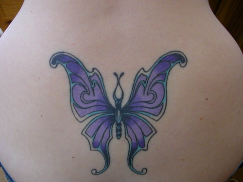 free design sun tattoos Butterfly blue color tattoo gallery
