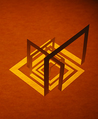 The Cooper Temple Clause (Richard Sweeney) Tags: light sculpture orange color colour art geometric paper squares geometry repetition kirigami folded thecoopertempleclause richardsweeney