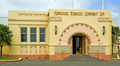 National Tobacco Company Building, Ahuriri, Napier (f0rbe5) Tags: newzealand orange art yellow architecture 350d design 2006 100v10f company artnouveau national northisland artdeco hay nouveau deco napier aotearoa tobacco globalvillage 1933 oceania rothmans nationaltobaccocompany chicagoschool portdistrict ahuriri louishay nationaltobaccocompanybuilding ourspacenz rothmansbuilding