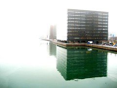 Harbour Architecture in Copenhagen (Mikael Colville-Andersen) Tags: morning reflection building water fog architecture copenhagen design cloudy harbour architect danish stockphotos morgen havn kbenhavn arkitektur tg nykredit copenhagenharbour schmidthammerlassen zakkadk stockphotoscopenhagenarchitecture