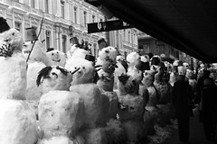 partnership of snowmans (bigwhitefish) Tags: new trip travel winter bw art film nature europe goldenglobe flickrsbest bigwhitefish