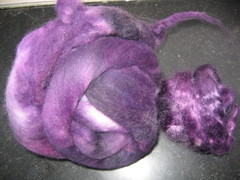 Handpainted merino and Mohair, before carding