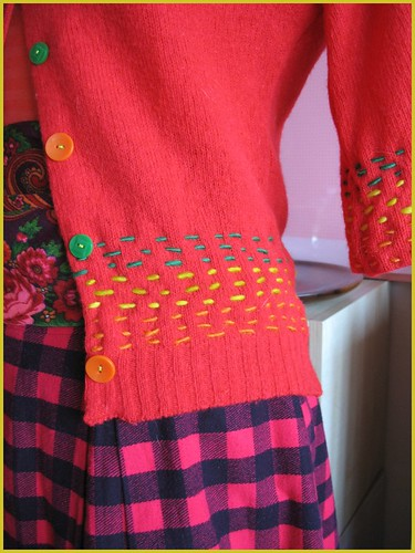 organic stripe sweater and pink check skirt