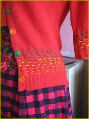 organic stripe sweater and pink check skirt