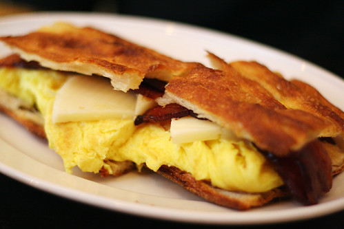 egg, bacon and cheese sandwich