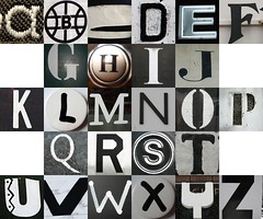 Checkerboard: black and white letters