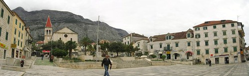 Church square in Makarska, Croatia