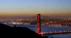 San Francisco ((nz)dave) Tags: sanfrancisco california city nightphotography morning bridge blue sky usa water metal night america landscape puente dawn lights nikon iron suspension towers transport cable structure 1870mmf3545g goldengatebridge cables baybridge infrastructure kqed d200 nikkor brcke gettyimages  ponticello nikond200  nikonstunninggallery sfchronicle96hrs
