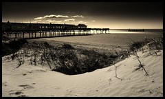 Pier (andrewlee1967) Tags: pier stannes lancashire blackandwhite andrewlee1967 uk bravo superbmasterpiece webflexxthinksitsawesome lowangle andylee1967 canon400d england landscape seaside mono bw monochrome focusman5 andrewlee