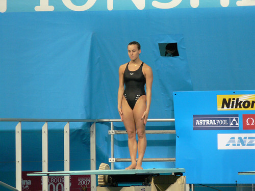 Italian swimmer Tania CAGNOTTO winning Bronze medal in 3m Springboard Women's event