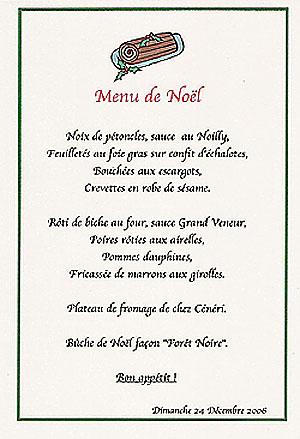 menu Noël 2006