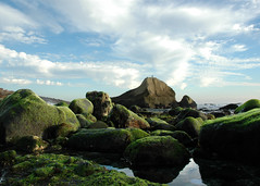 Another view of the rock. (suZen.) Tags: ocean sky clouds moss interestingness rocks pacific lowtide orangecounty danapoint i500 int